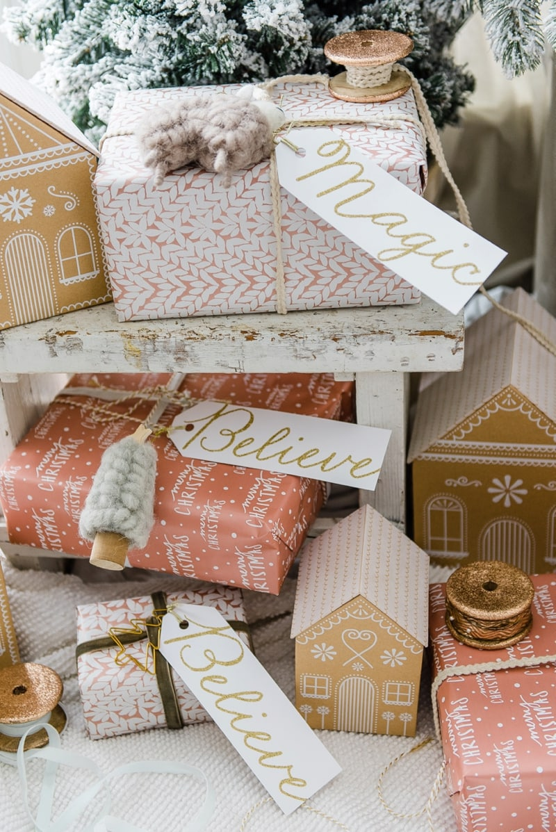 Farmhouse Style Gingerbread House Gift Wrap