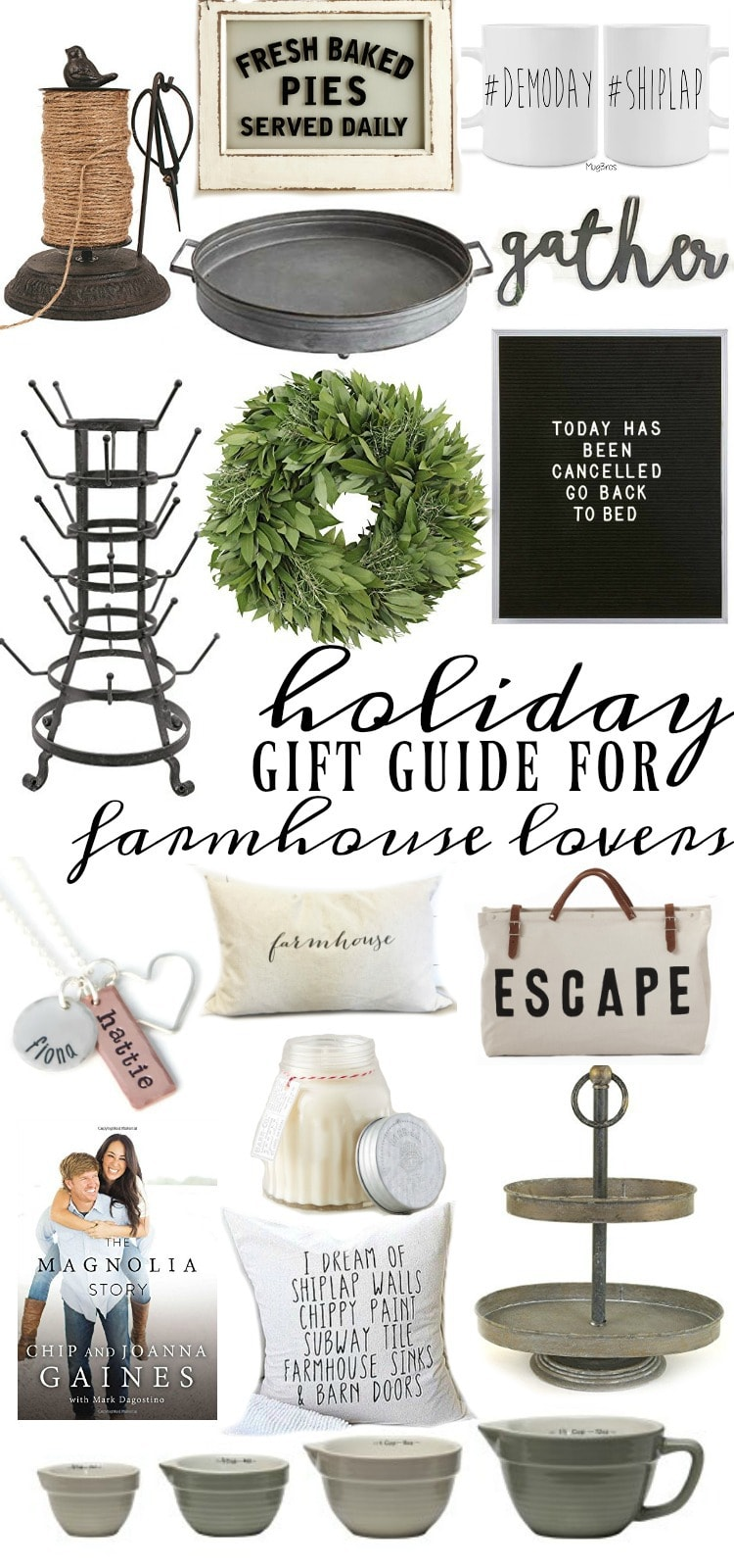 Holiday Gift Guide For Farmhouse Lovers - A great list of gifts to get those people in your life that love farmhouse decor & more...