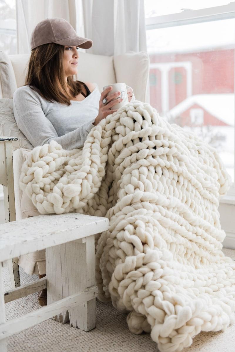 , Handmade Chunky Knit Wool Blanket