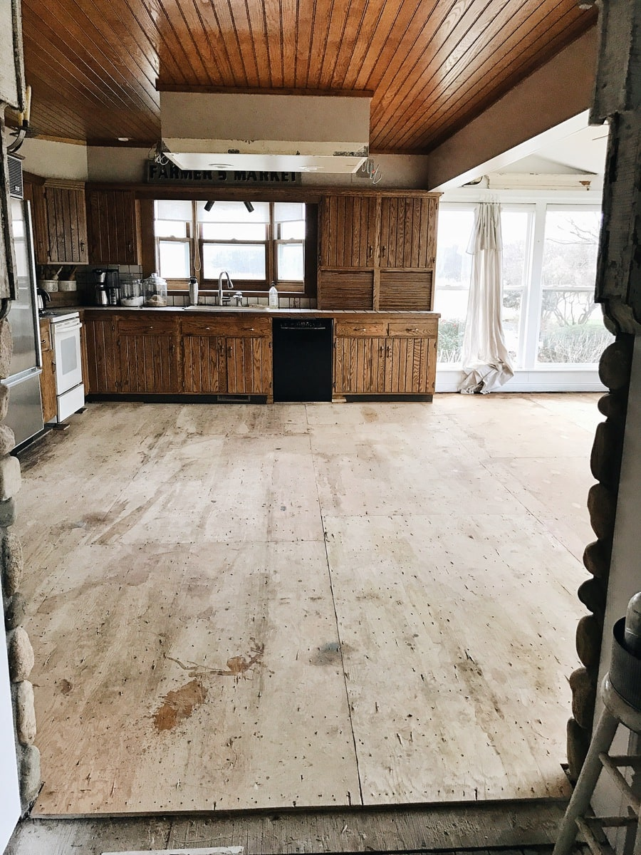 , Sunroom & Kitchen Demo- The Floors are Gone!