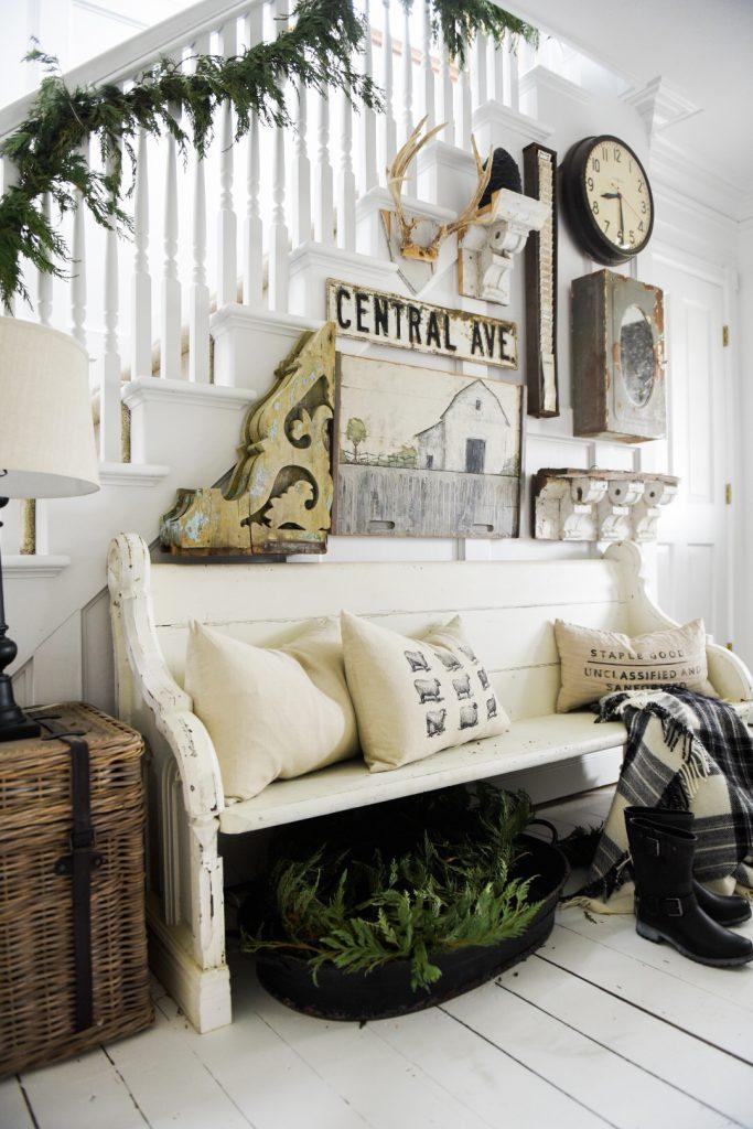 , Cozy Farmhouse Winter Entryway