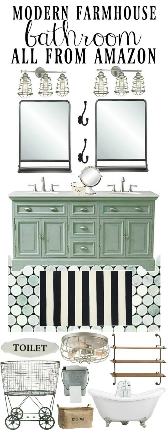 , Modern Farmhouse Style Bathroom All From Amazon