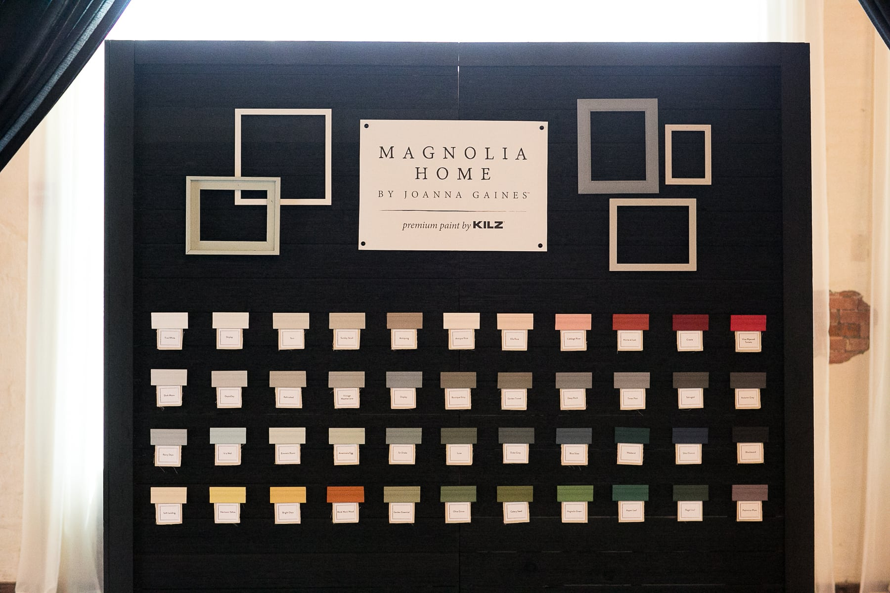 A Board of all the different chalk paint samples by Magnolia Home