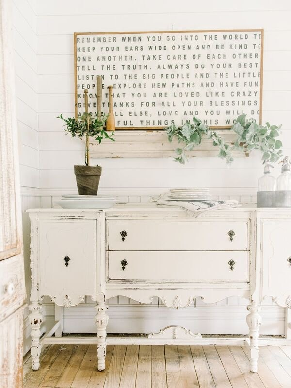 , An Antique Buffet In The Dining Room