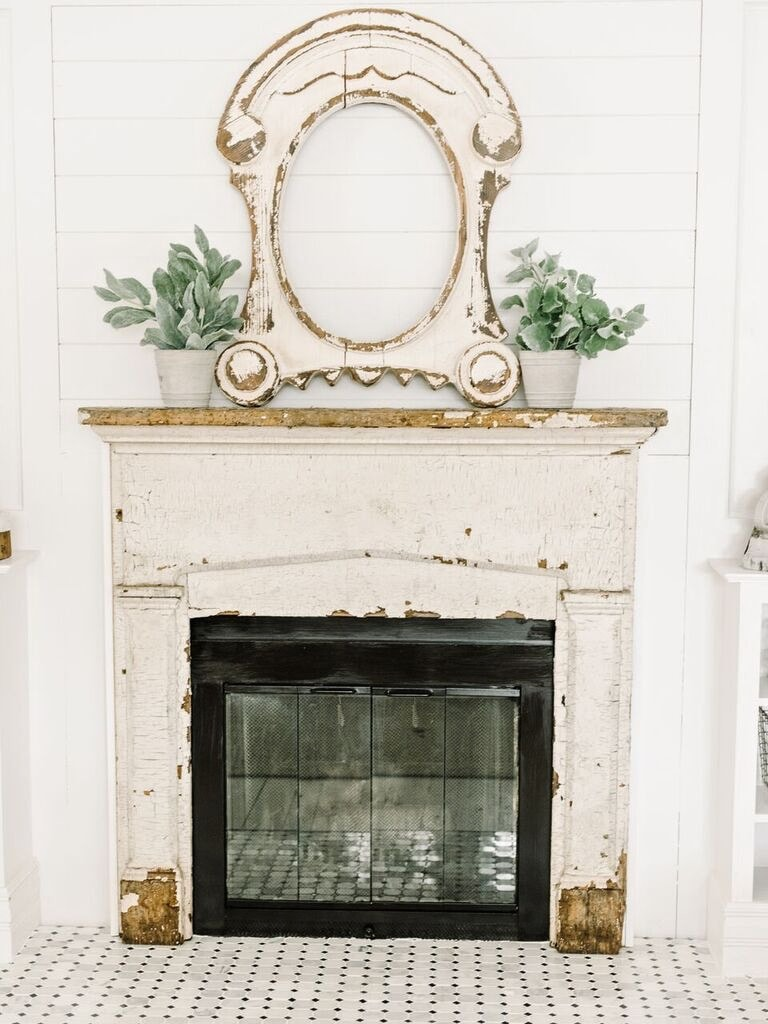 , Front Living Room Fireplace Progress- Tile