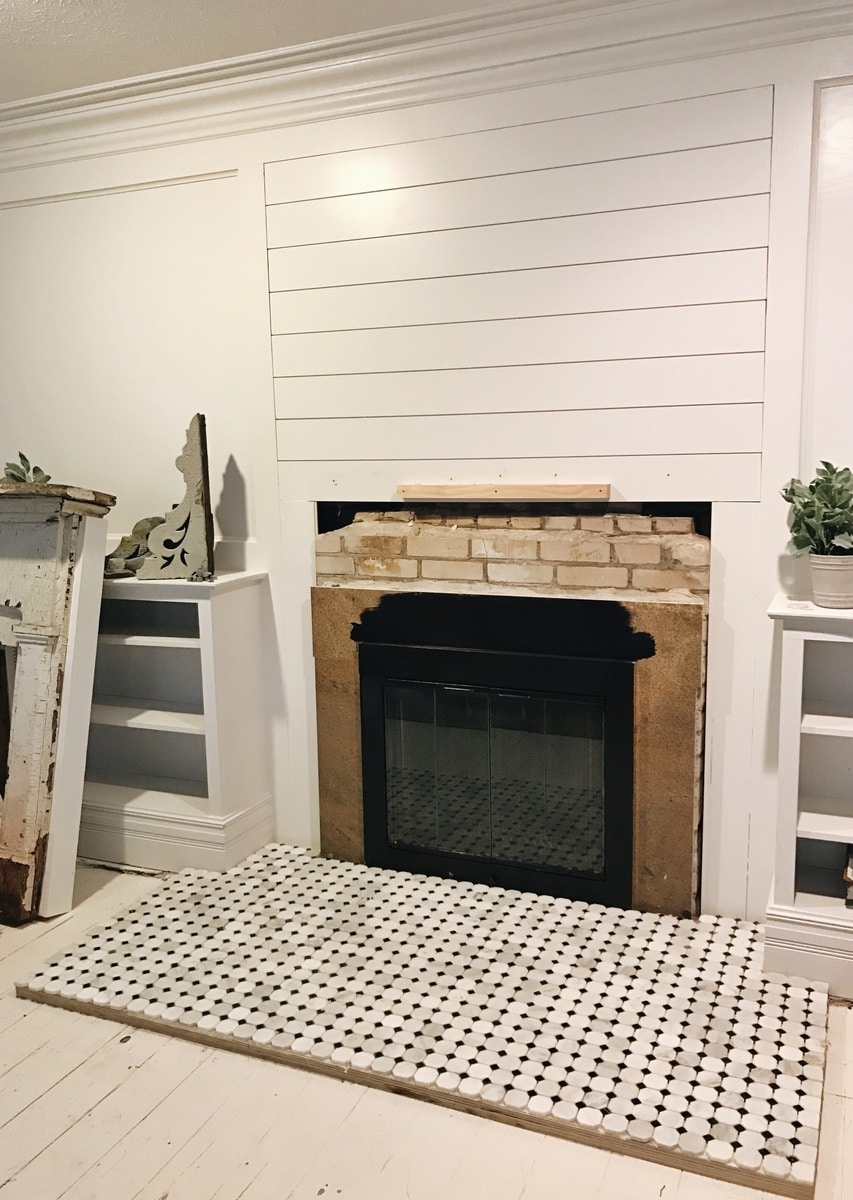 , Front Living Room Fireplace Tile Progress