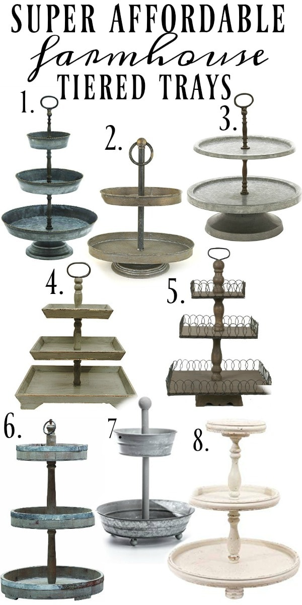 Super affordable farmhouse style tiered trays - A must pin & great blog for farmhouse style & cottage style decor inspiration!