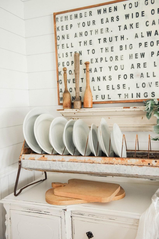 , Antique Chicken Feeder Plate Rack