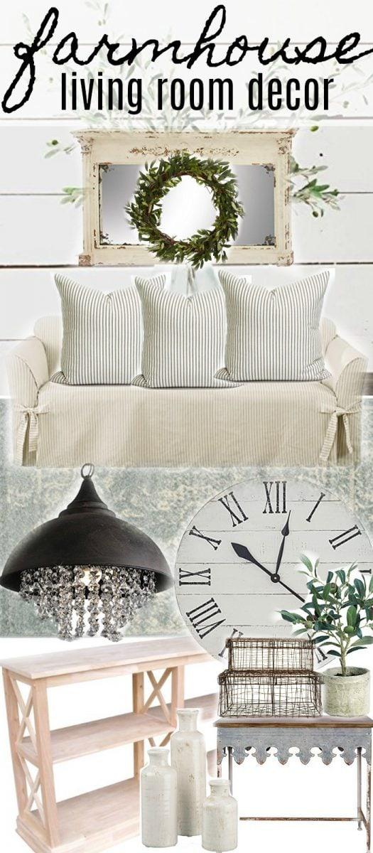 , Neutral Farmhouse Style Living Room