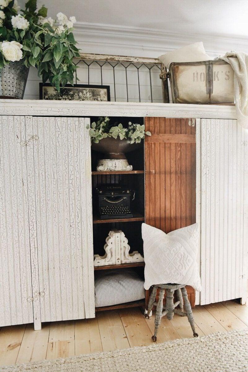 , Massive White Farmhouse Cabinet