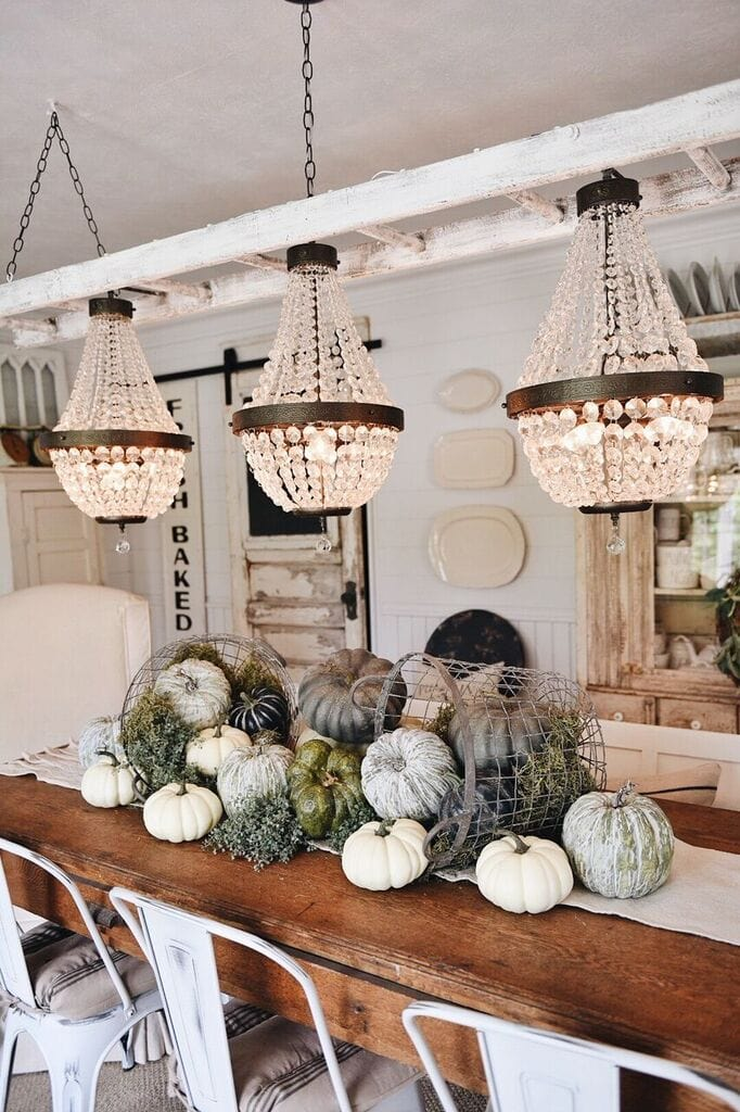 Pumpkin Centerpiece, Garden Pumpkin Basket Centerpiece