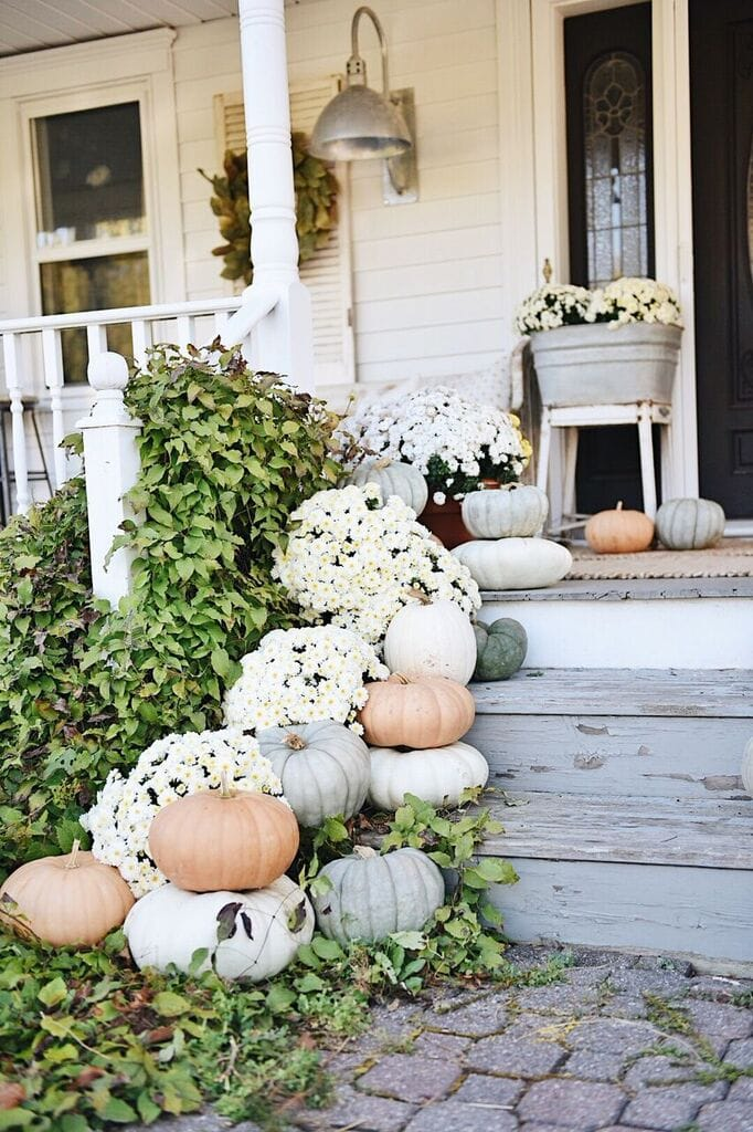 Fall Porch, Rustic Cottage Farmhouse Fall Porch Steps