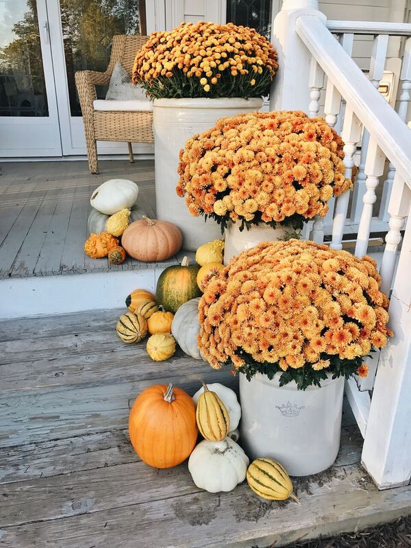 Fall Porch Decor, Eclectic Pumpkin Fall Porch Steps