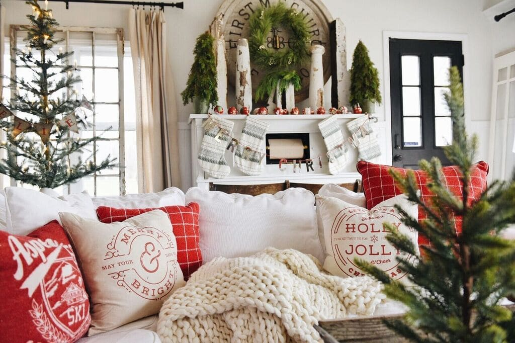 Cozy Christmas Decor, A Cozy Cheerful Christmas Living Room