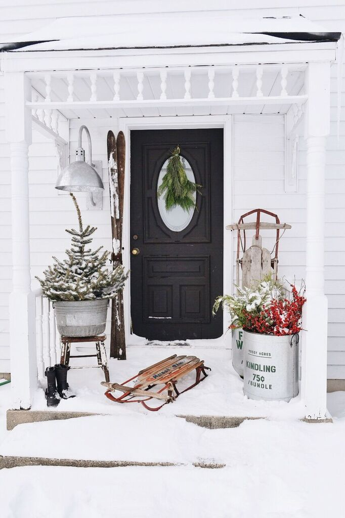 farmhouse christmas stoop, Farmhouse Merry Christmas Stoop