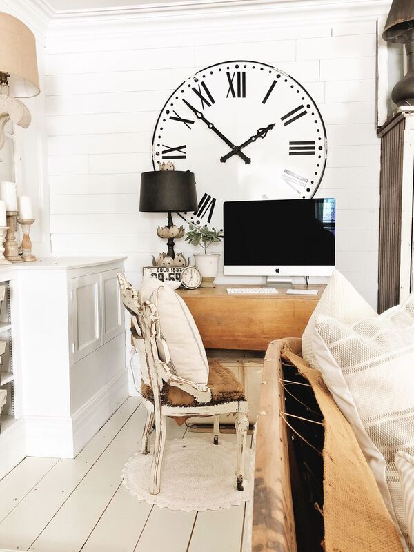, Farmhouse Living Room Office Corner