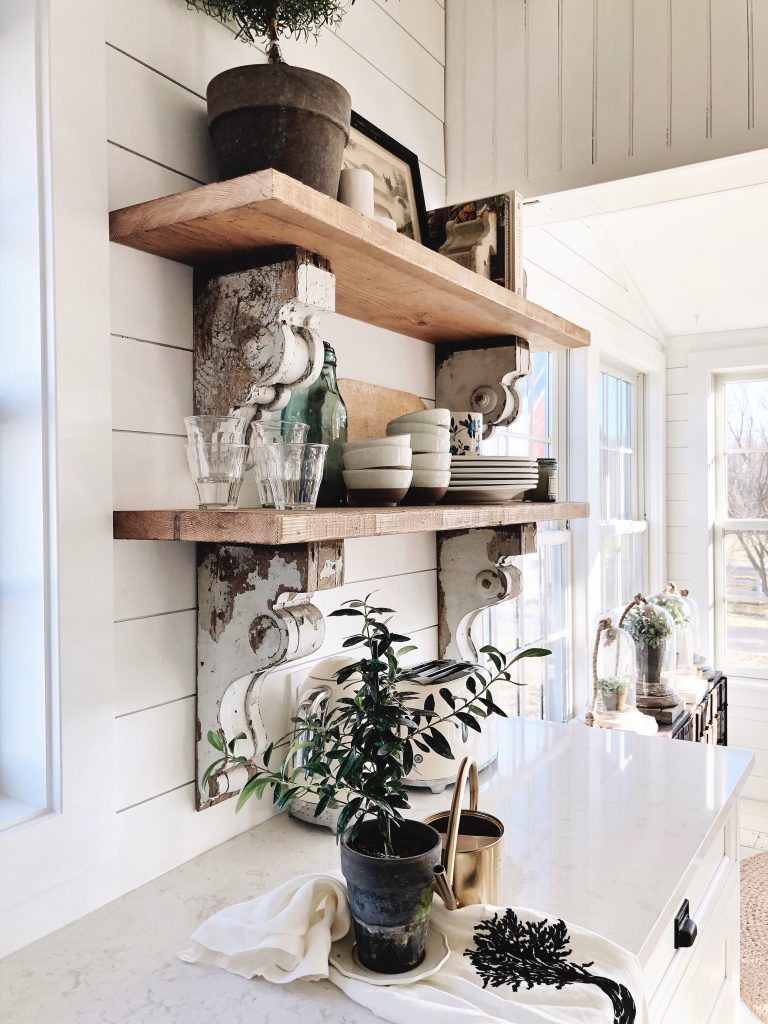 , Cottage Style Kitchen Shelves – To Paint or Stain?!