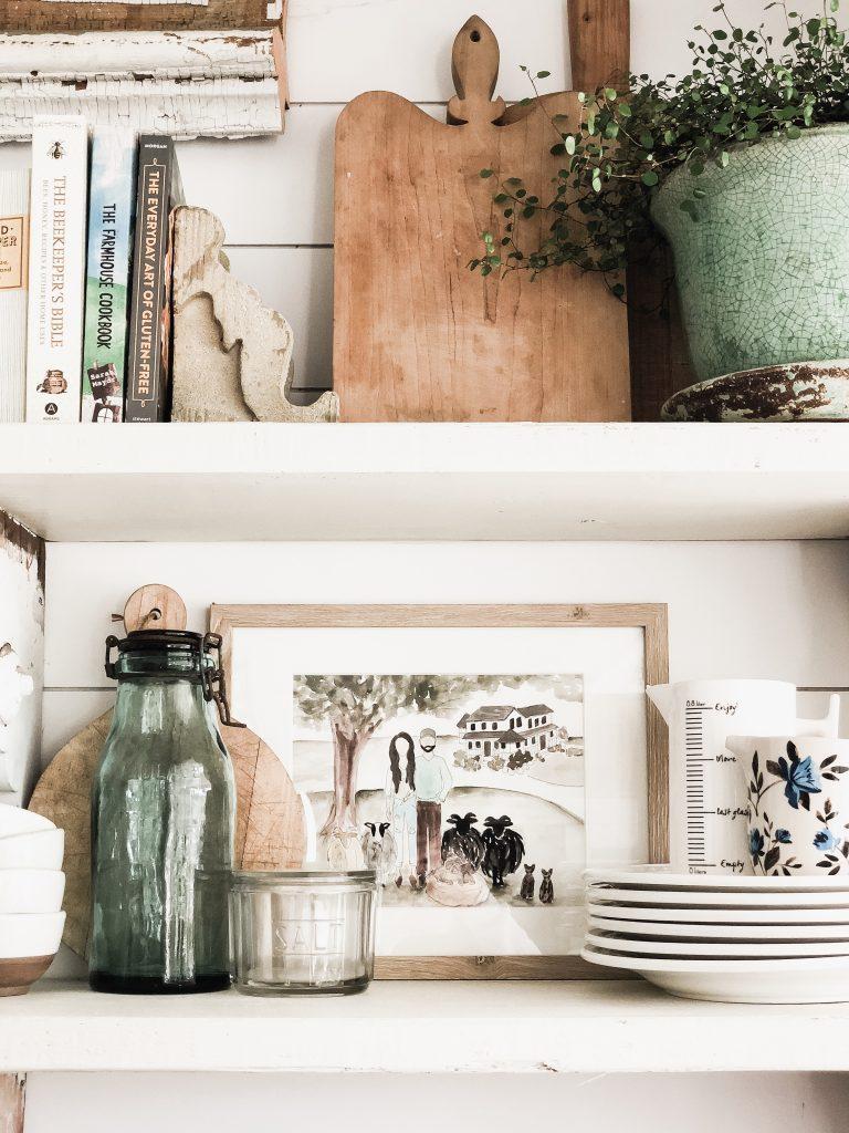 Kitchen Shelves, Family Watercolor Portrait