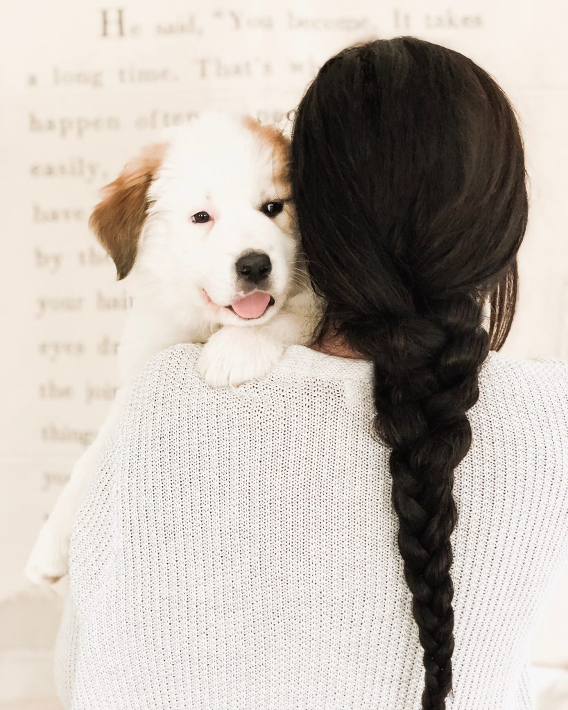 Cute Pose with Puppy