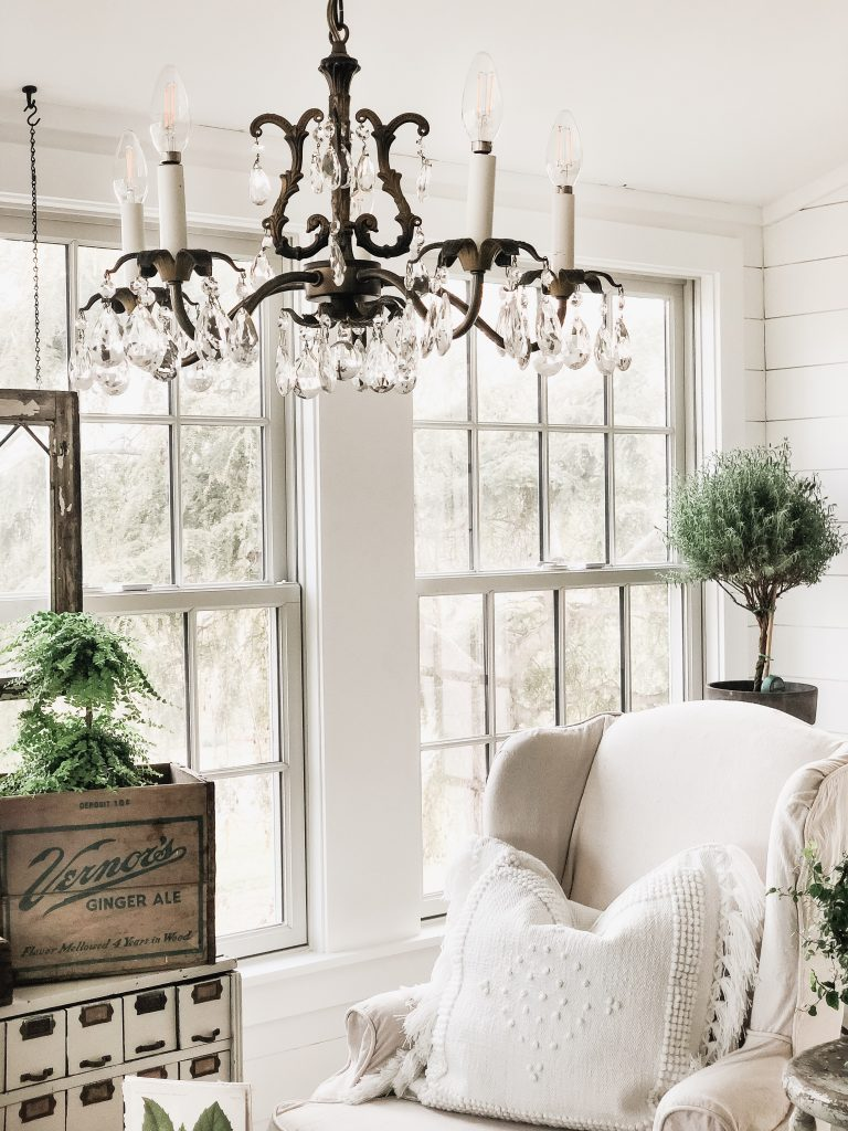 Vintage Chandelier in Sunroom