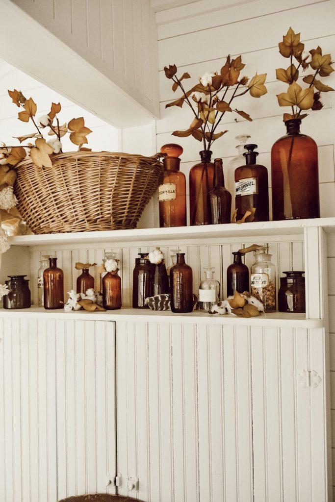 Amber Bottle Decor, Amber Bottles & Cotton Fall Decor