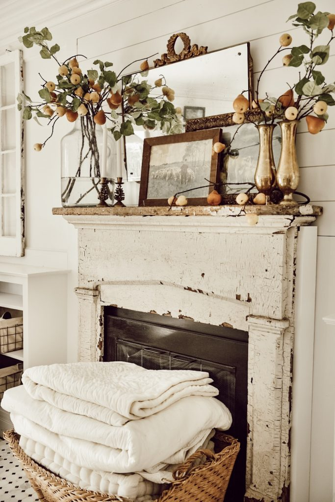 , Eclectic Antique Fall Pear Mantel