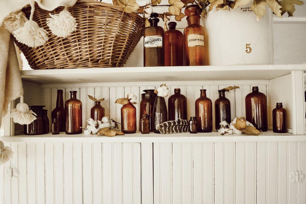 , Autumn Amber Bottles – Farmhouse Fall Decor