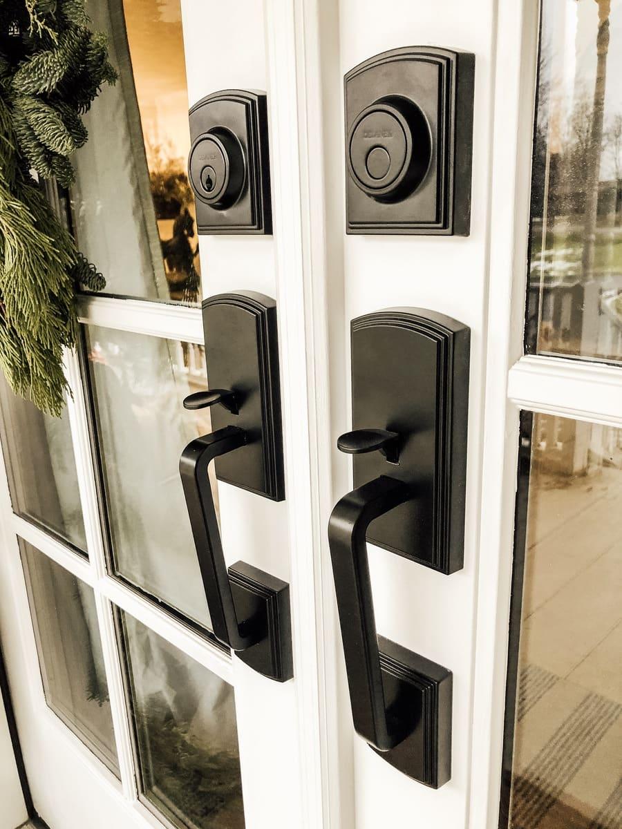 Delaney Hardware, French Door Handle Update & Cozy Christmas Porch