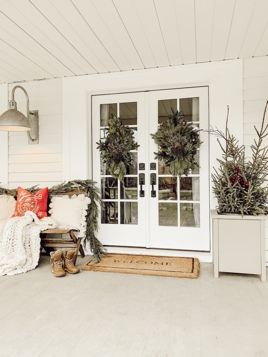 French Door Handle Update & Cozy Christmas Porch