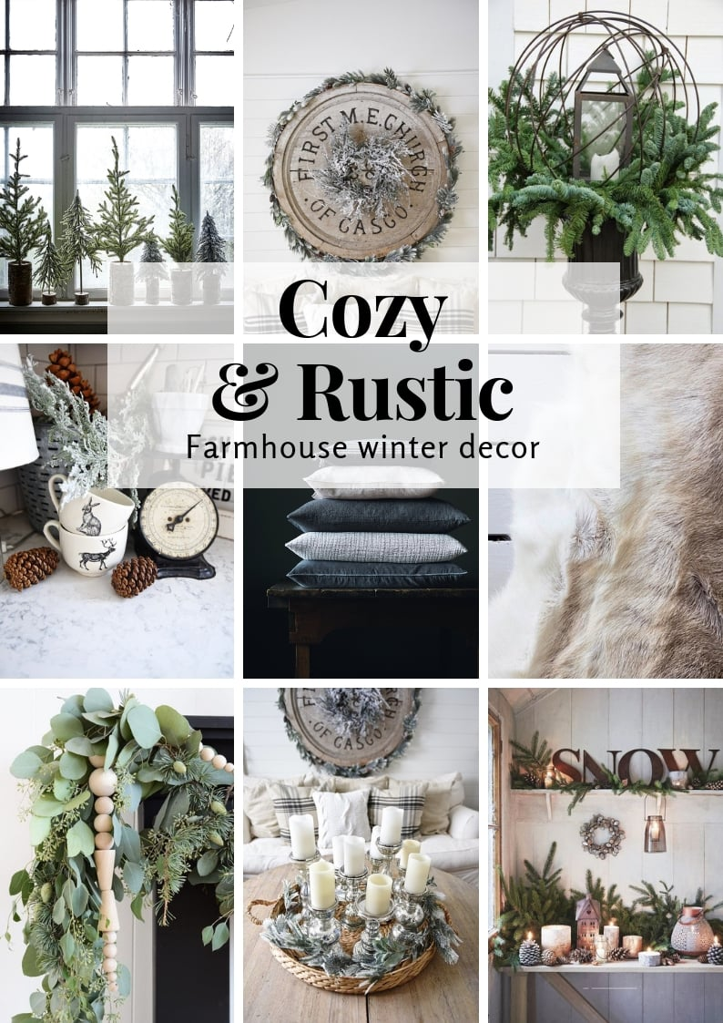Cozy and Rustic Farmhouse Winter Decor Graphic of Liz Marie's top picks.