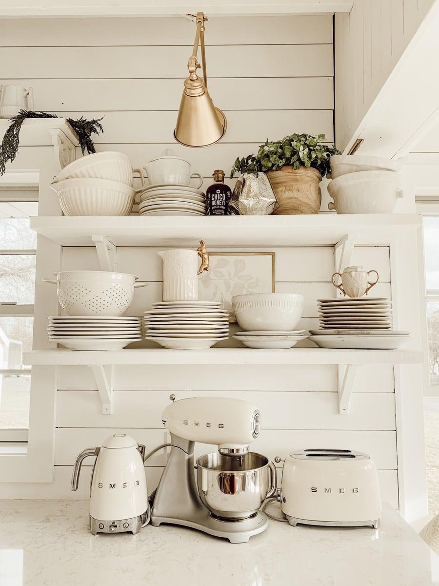 White farmhouse open shelving in the kitchen