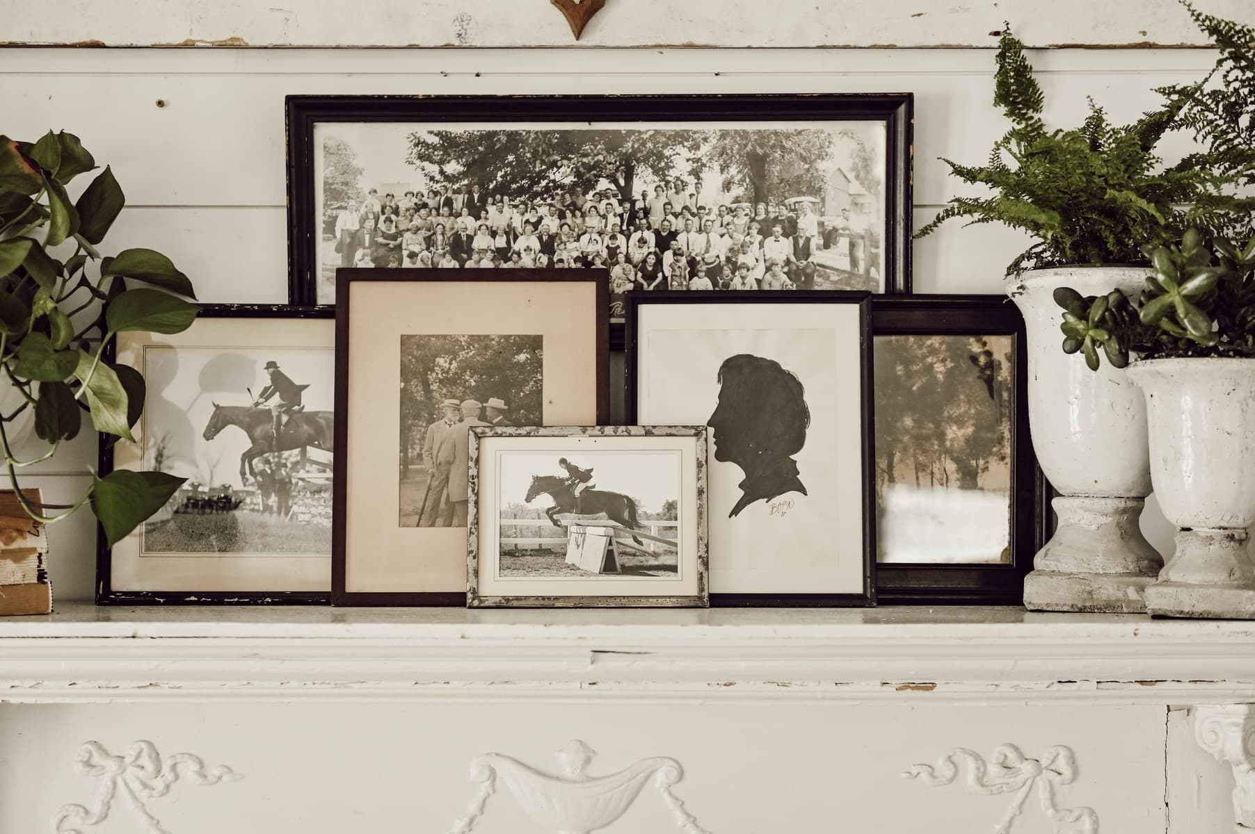 Mantel Styling with Eclectic Antique Frames