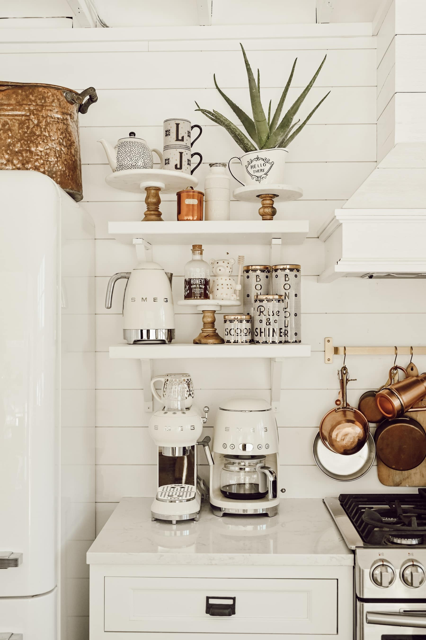 6 Ways To Style Open Kitchen Shelves Liz Marie Blog