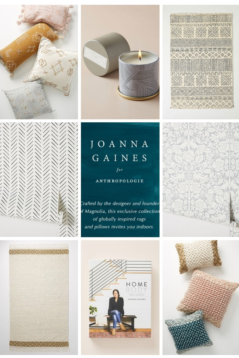 eight examples of Joanna Gaines Anthropologie collection