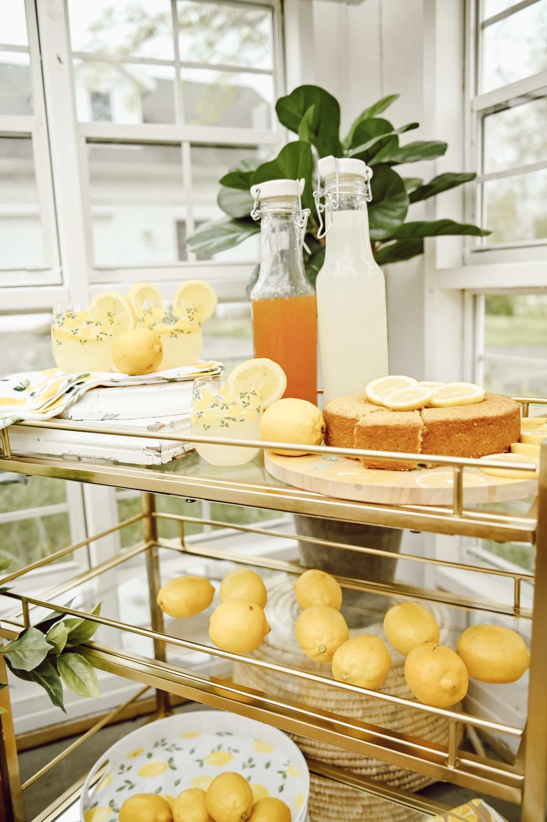 Homemade Lemon Drinks and pound cake on drink cart in greenhouse