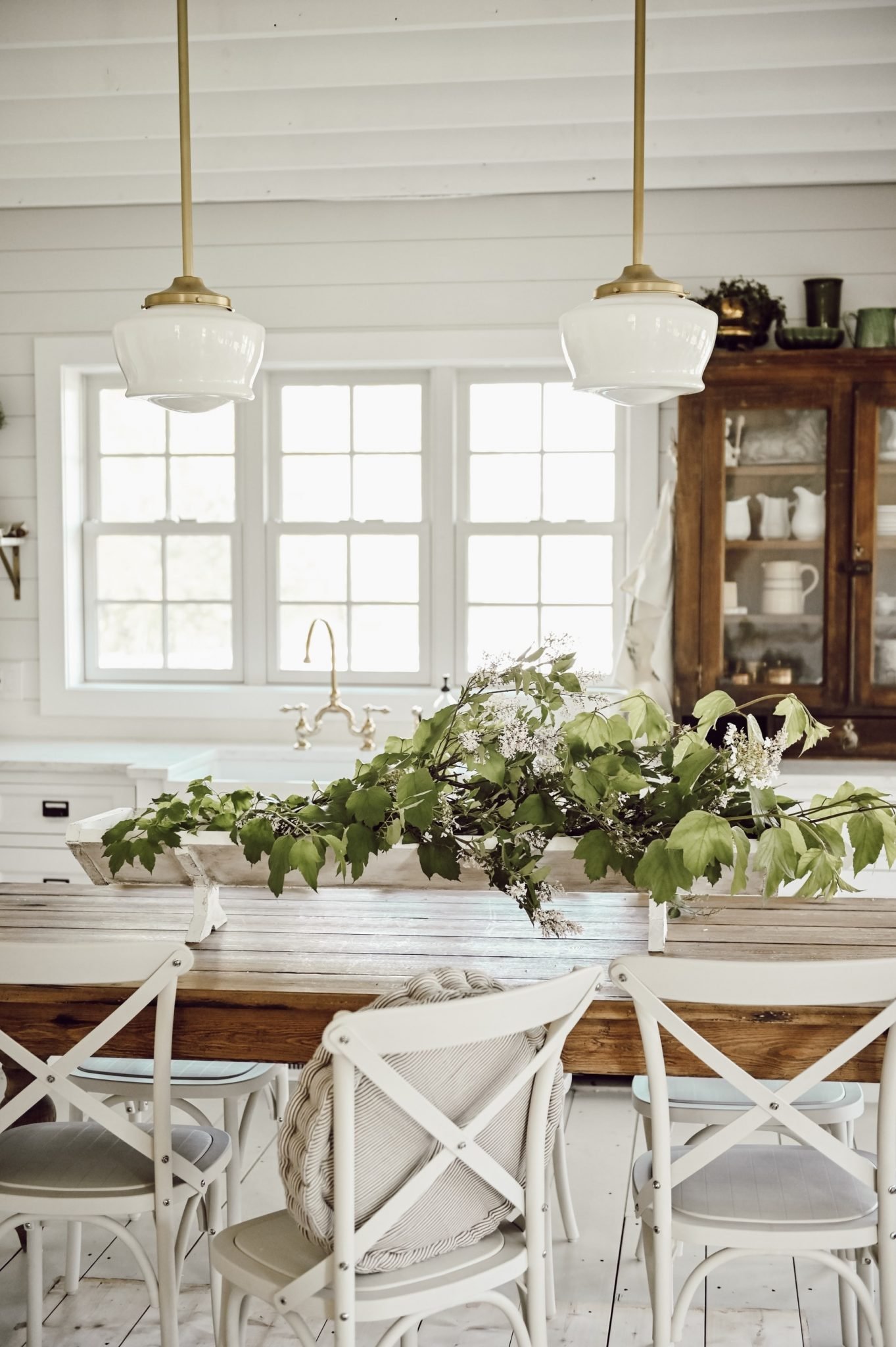 Rustic Trough on dining room table