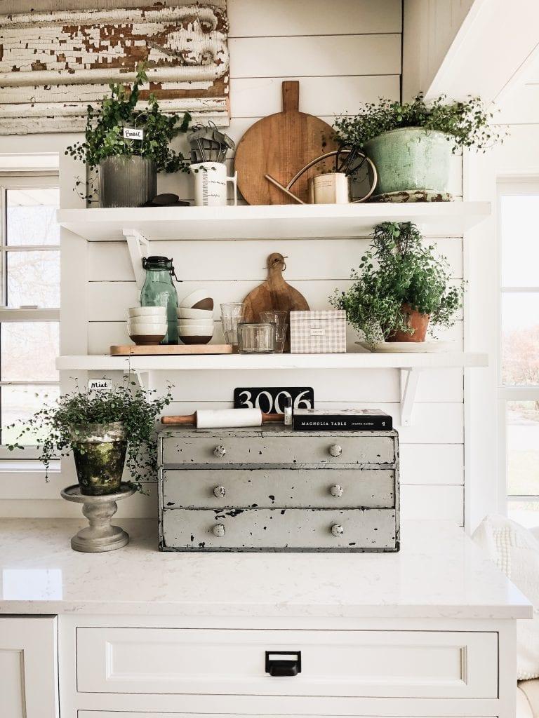 open shelves, 6 Ways to Style Open Kitchen Shelves