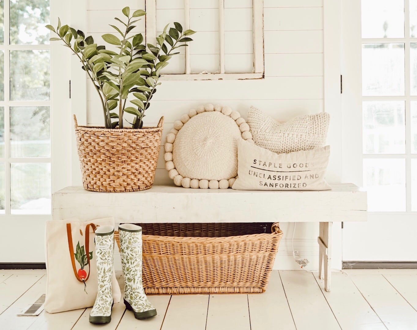 Farmhouse Style Entryway to get a cozy look with garden elements and rain boots