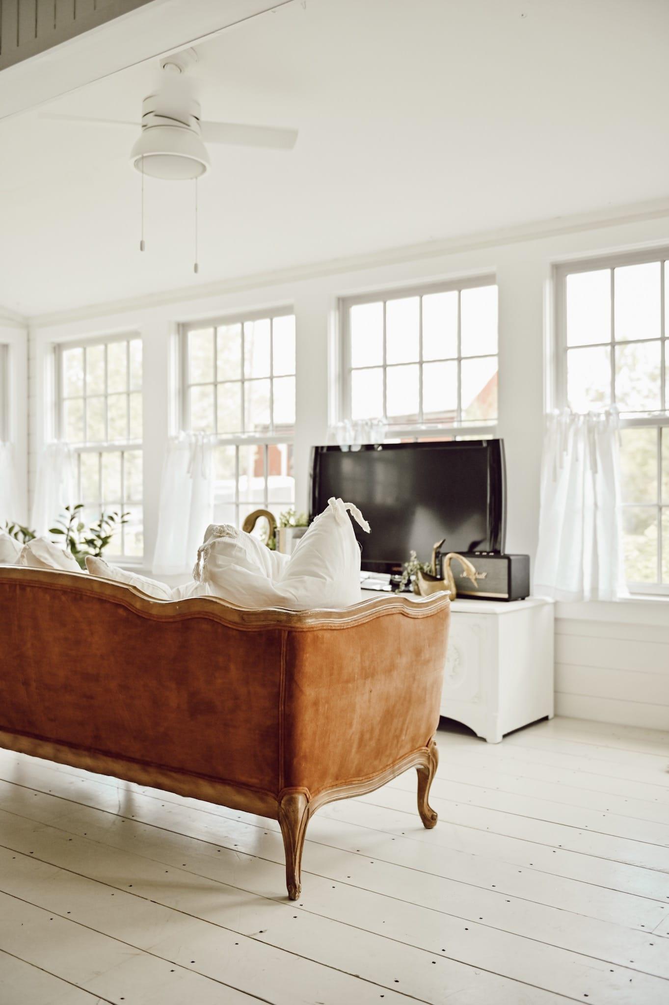 sunroom, Cozy & Comfy Farmhouse Sunroom