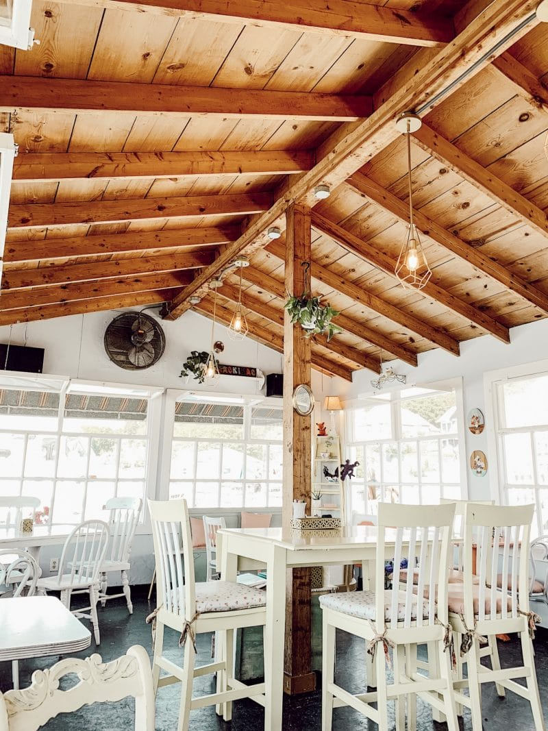 Watercolor Cafe wood planked ceiling