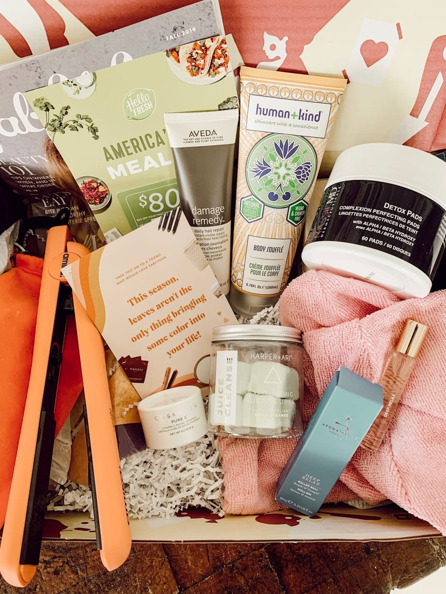 Close up of FabFitFun Fall Box