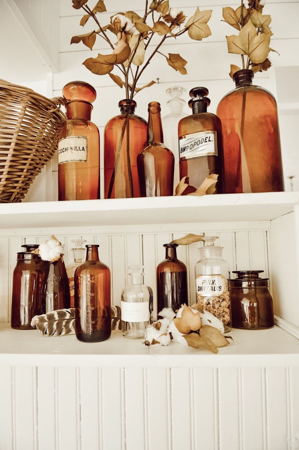 Amber Bottles for Fall Decor