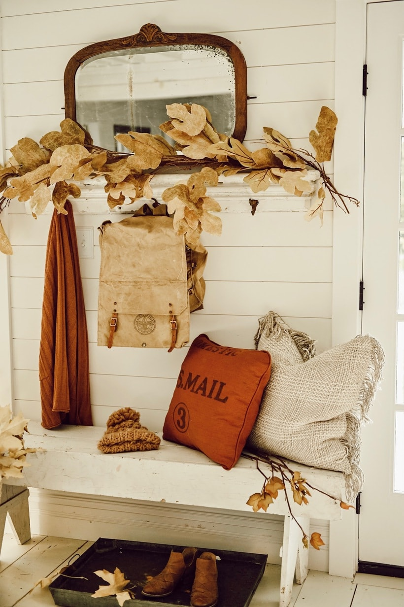 close up of fall entryway