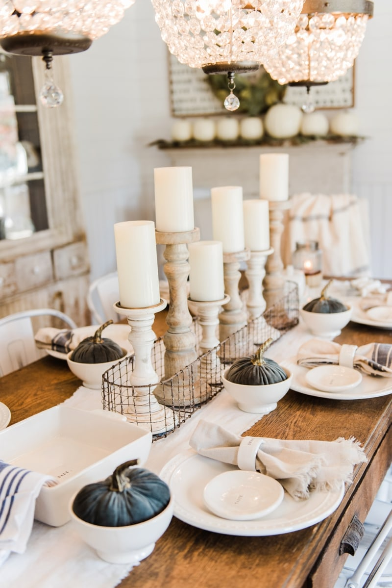 neutral fall tablescape