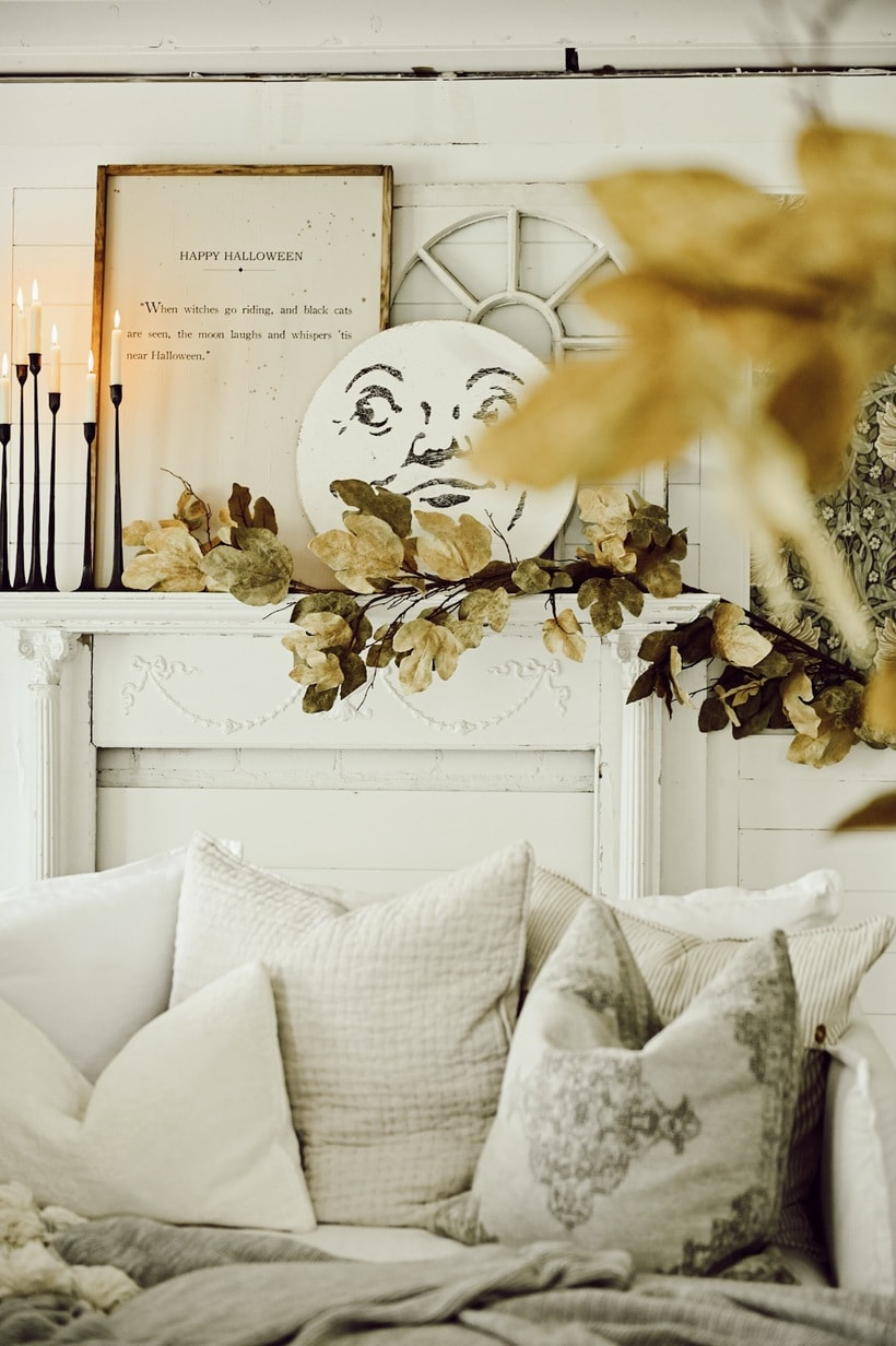 Farmhouse Mantel Decorated for Halloween