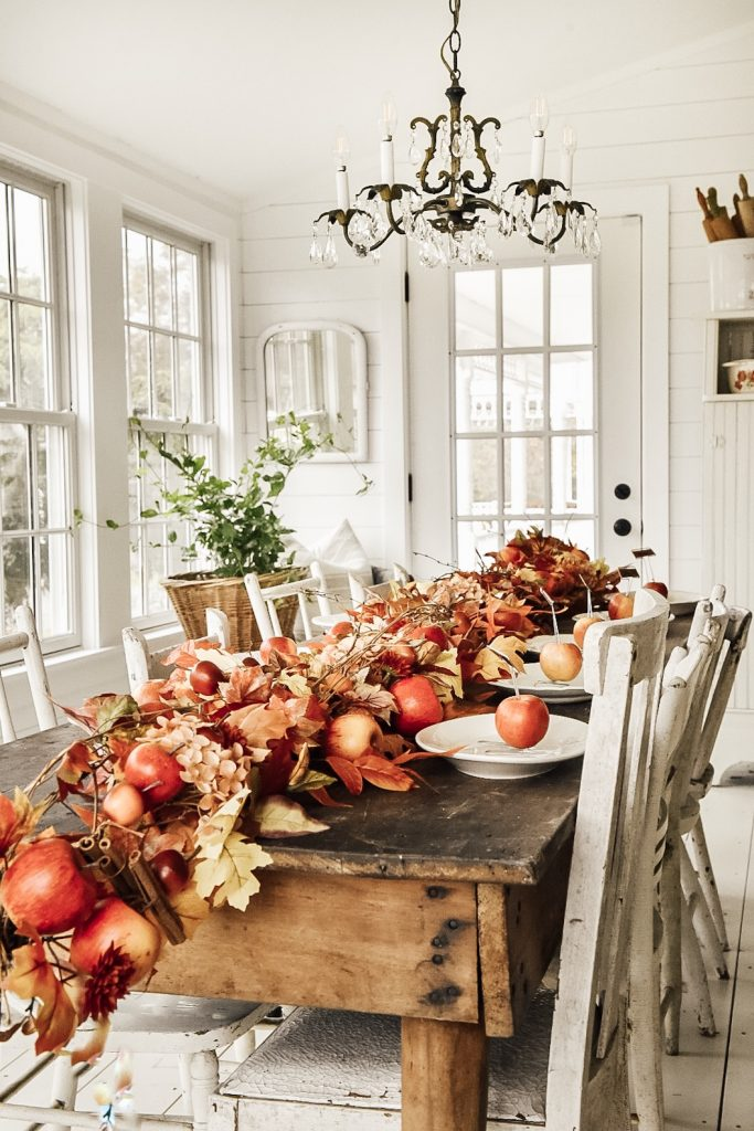 fall sunroom tablescape