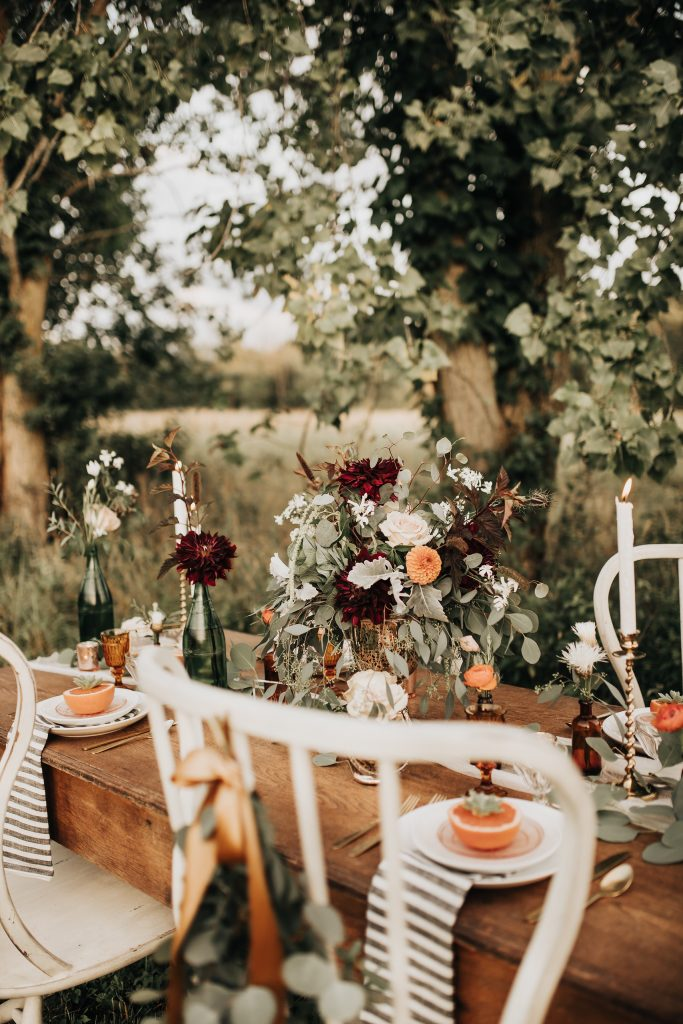 fall tablescape in the field