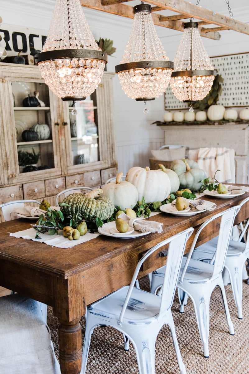 pumpkin and pear fall tablescape