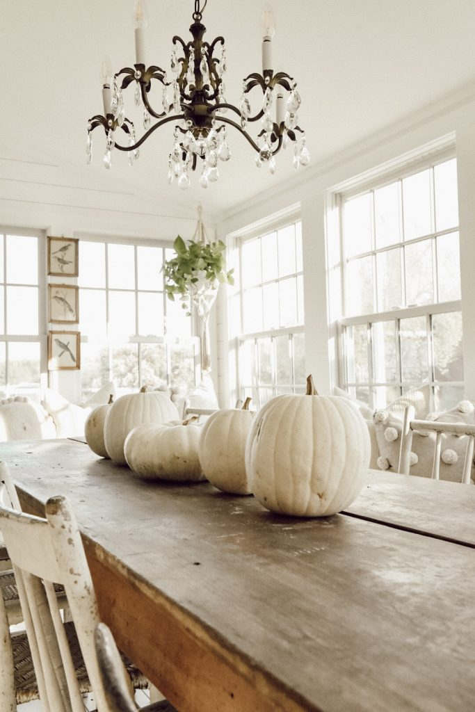 simple fall white pumpkin tablescape