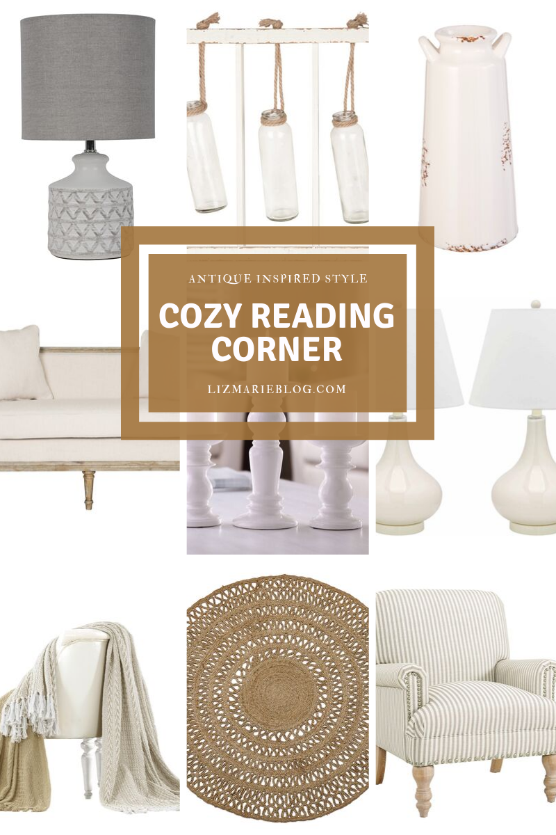 Cozy reading corner item collage